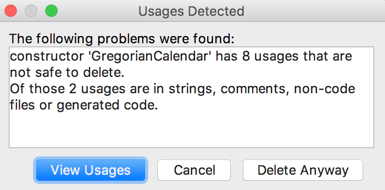 Usages Detected dialog