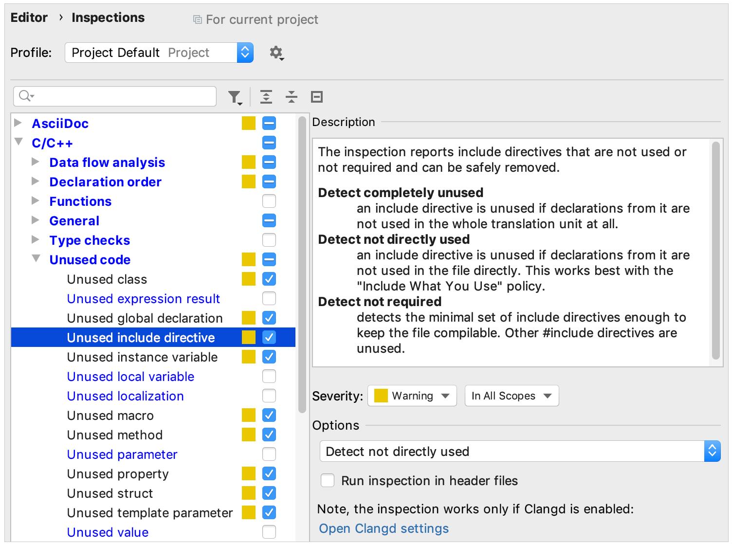 Unused Includes settings