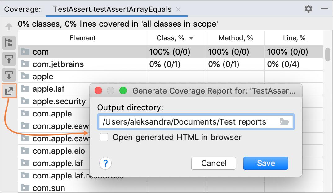 Generating code coverage report