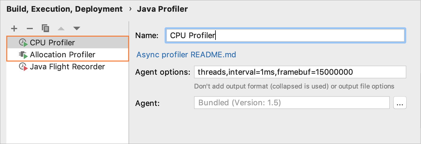 Configuring CPU profiler configuration