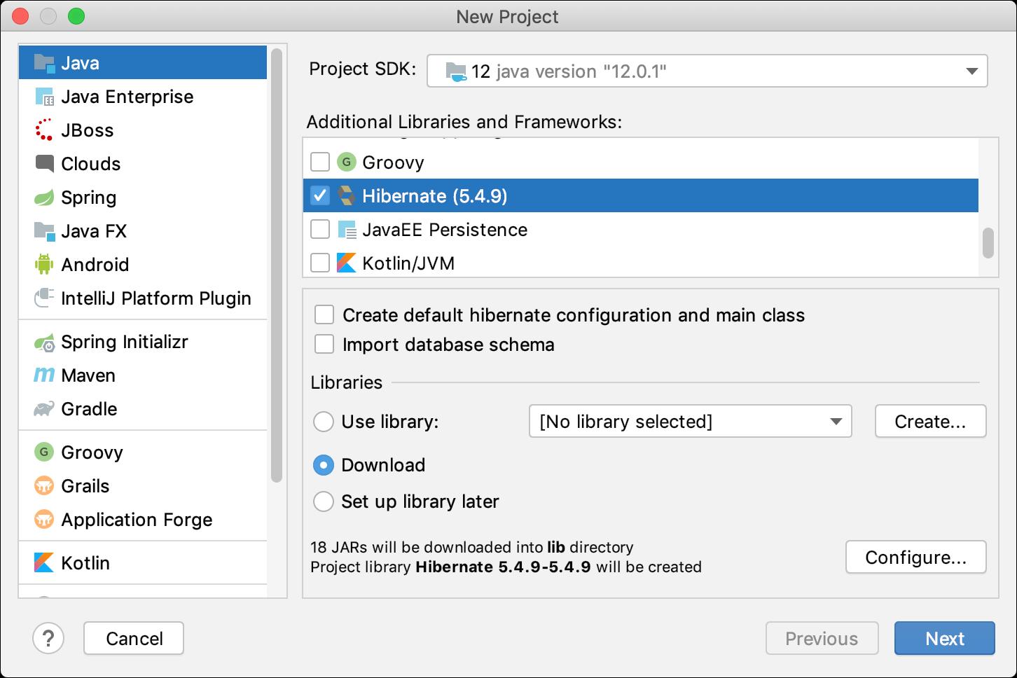 Creating a new Hibernate project