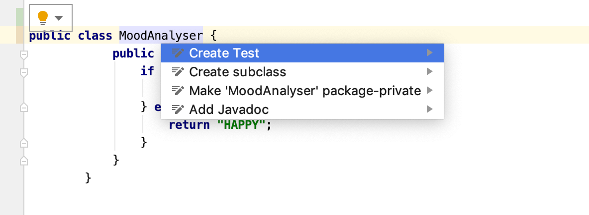 Creating a new test using context actions