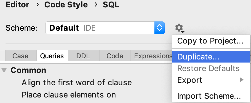 Create a code style for SQL