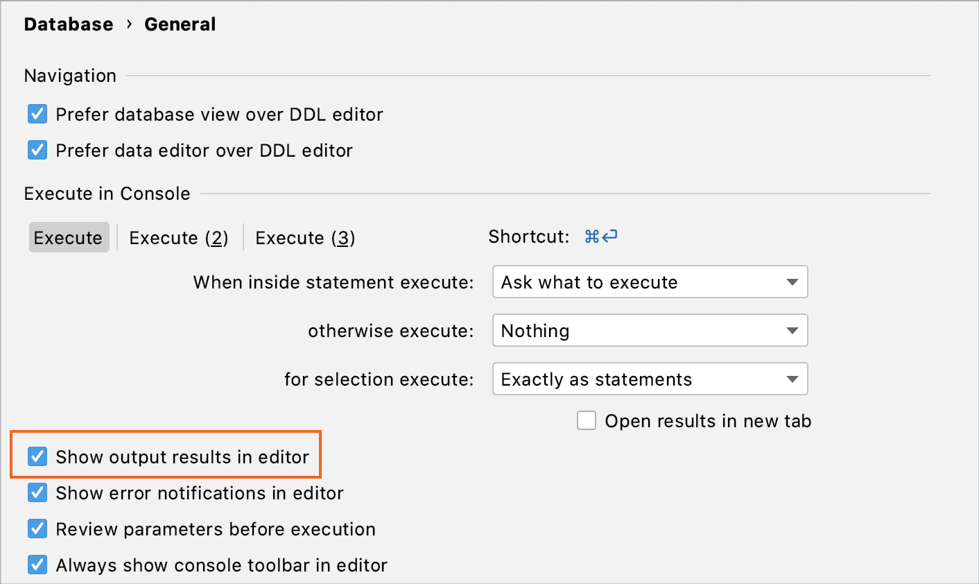 Disable in-editor results globally