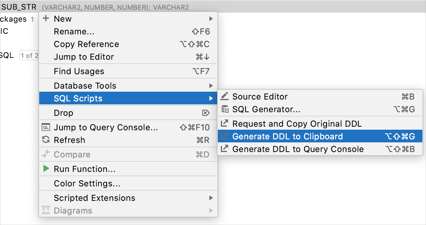 Generate a DDL definition to the clipboard