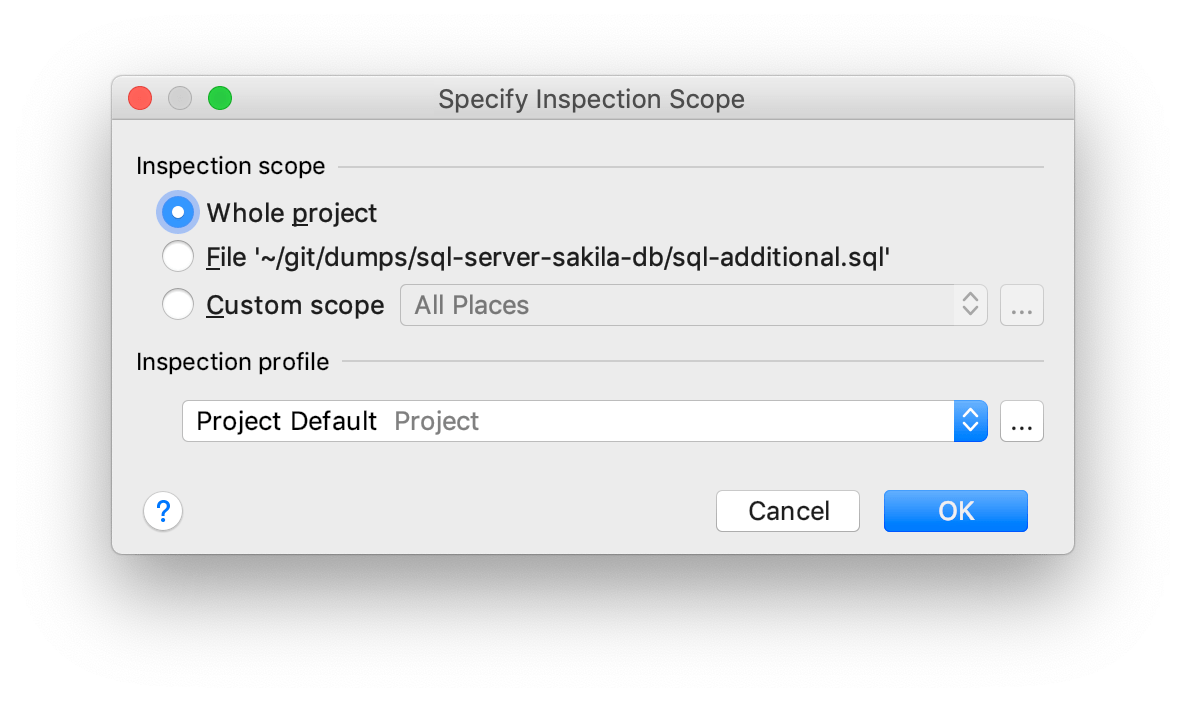 The Specify Inspection Scope dialog
