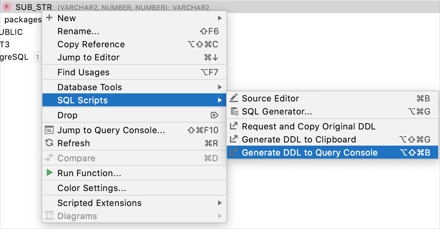 Generate a DDL definition to the query console