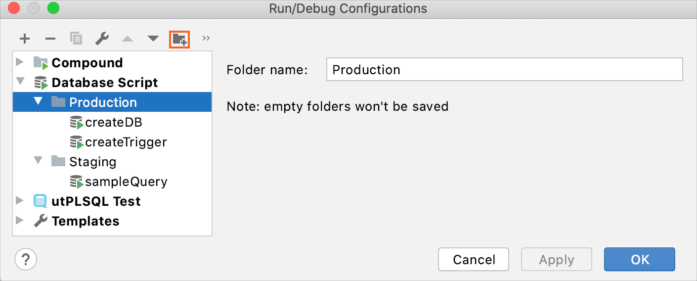 folders for run configurations