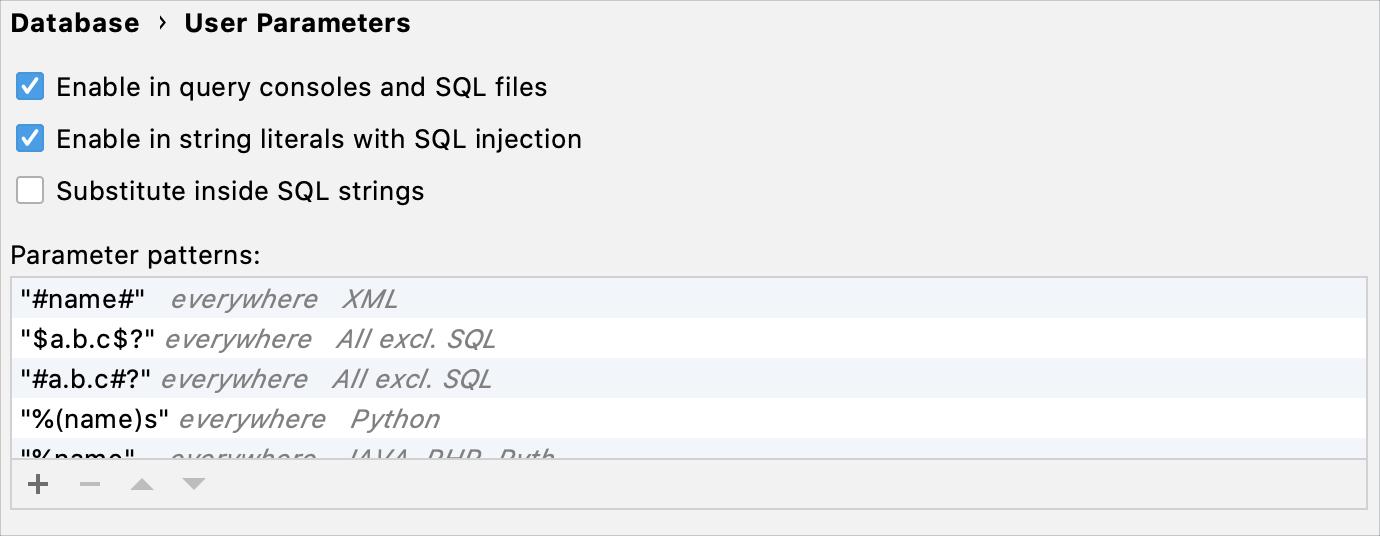 Configure settings for user parameters