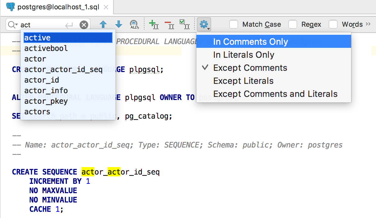 Exclude comments and literals