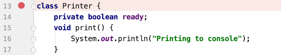 A breakpoint set on a default constructor