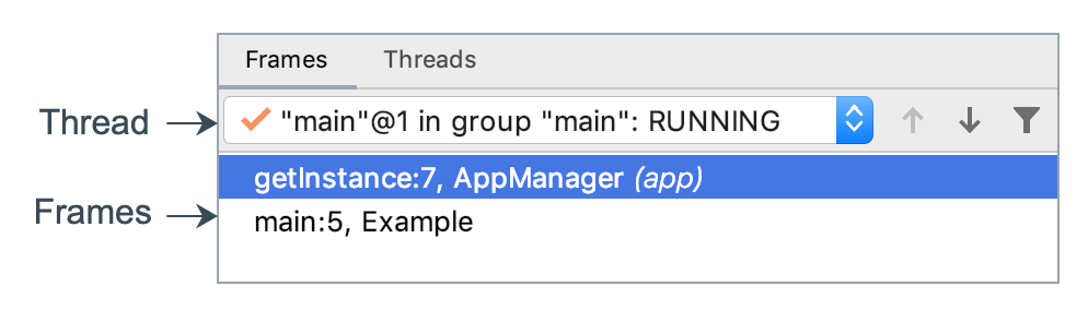 Frames and threads are selected in the Frames tab