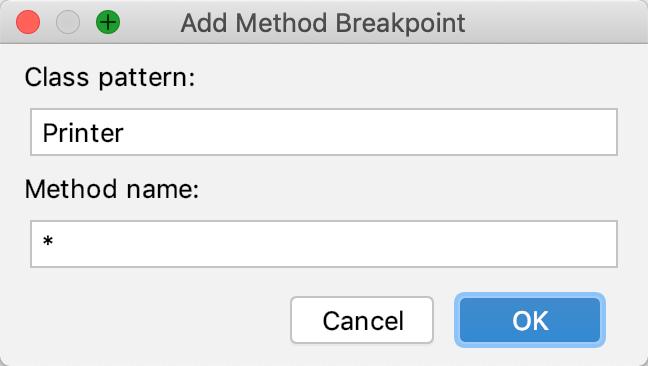 Add method breakpoint dialog