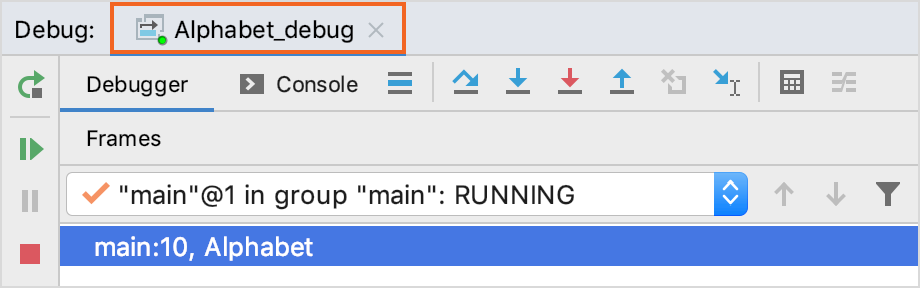 The current session tab in the top part of the Debug tool window