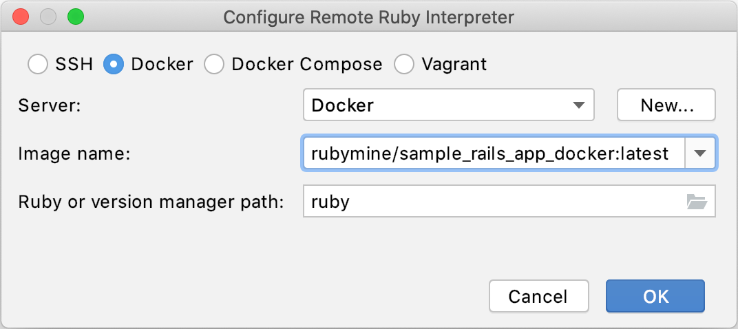 Configure remote Ruby interpreter: Docker