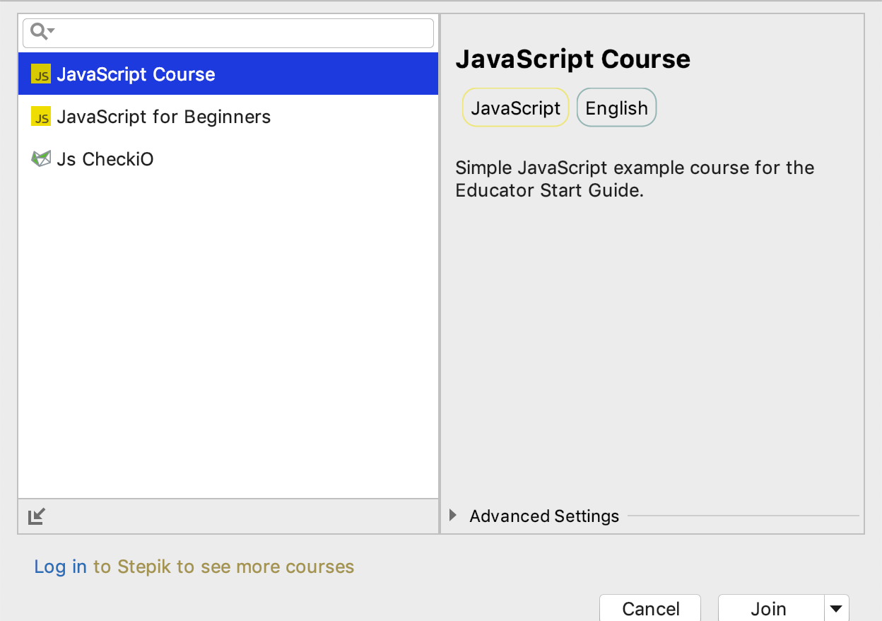 edu course imported javascript