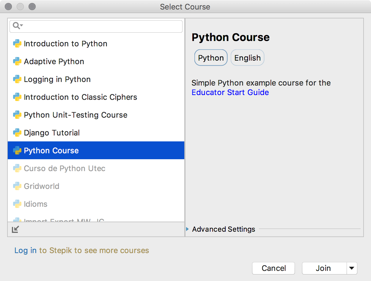 edu course imported python