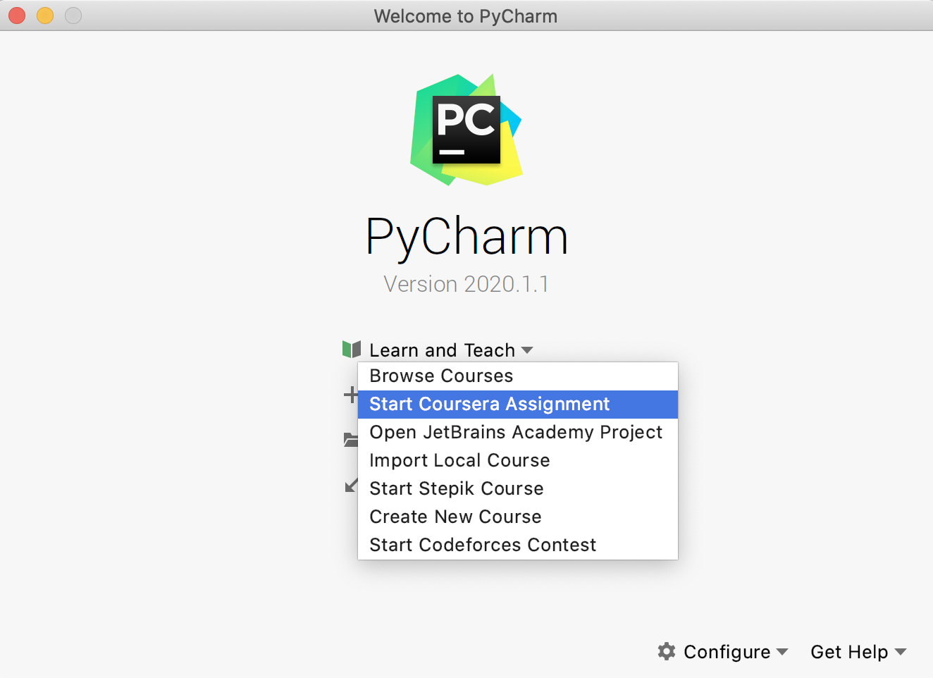 Coursera assignments in PyCharm