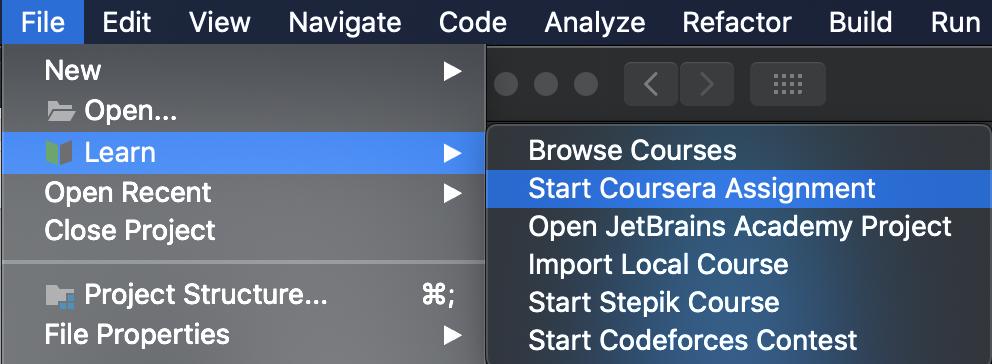 edu file menu start coursera assignment
