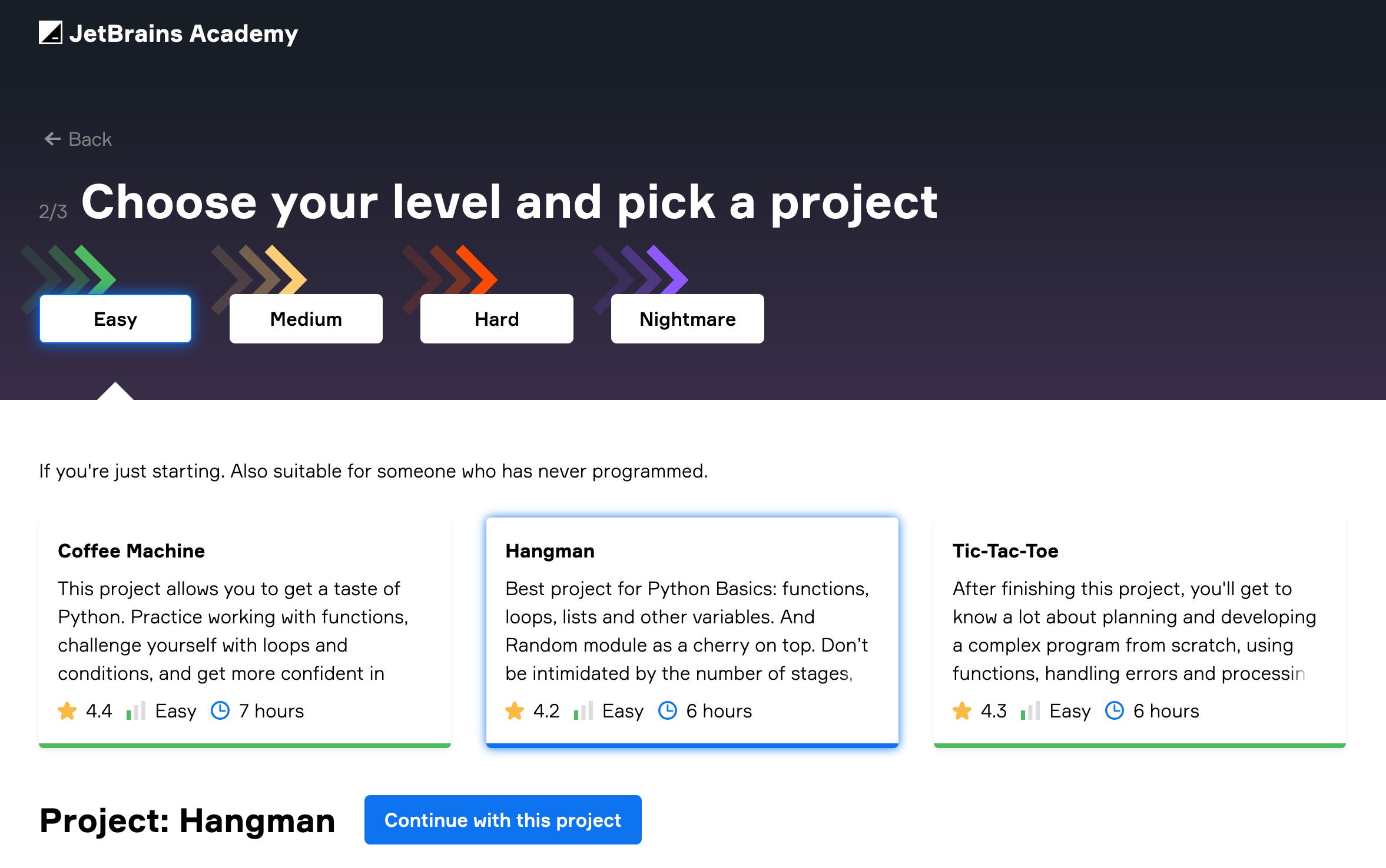 Select Python project