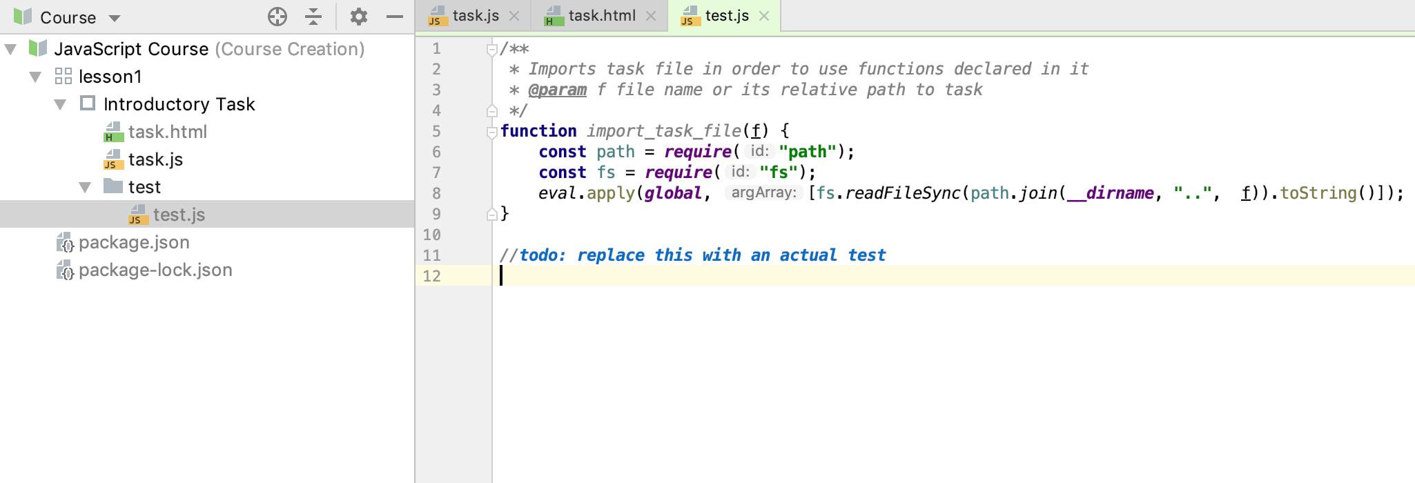 edu test file js