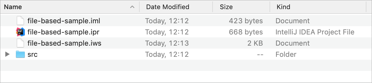 A simple file-based project shown in Finder