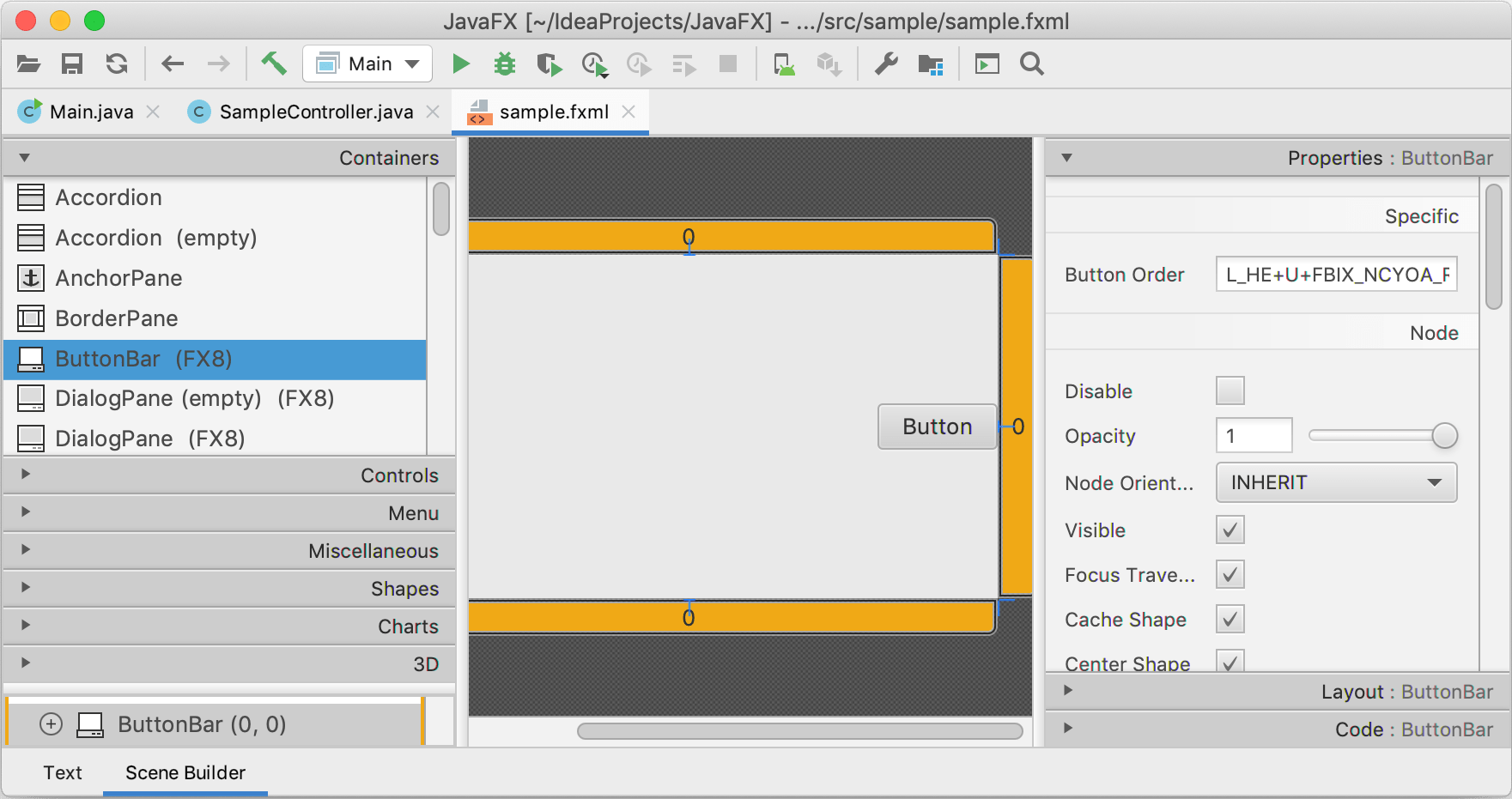 An .fxml file opened in Scene Builder in the IDE