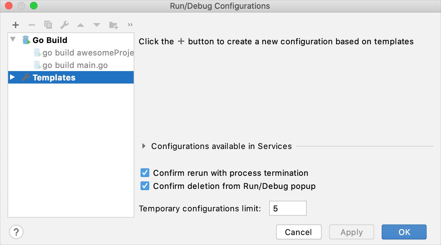 Changing Run/debug templates