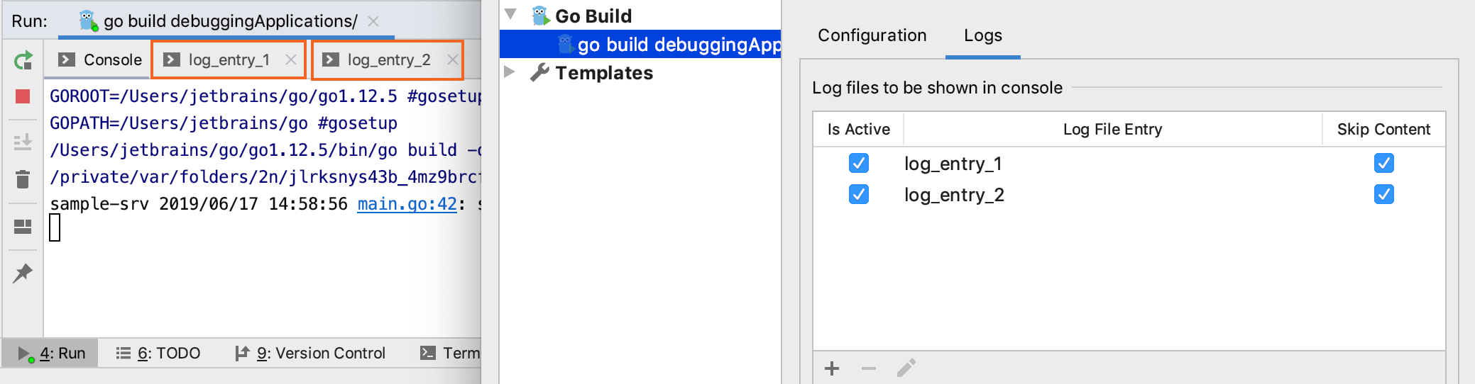 Configure log entries