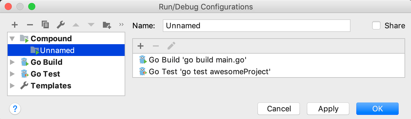 Create a compound Run/Debug configuration