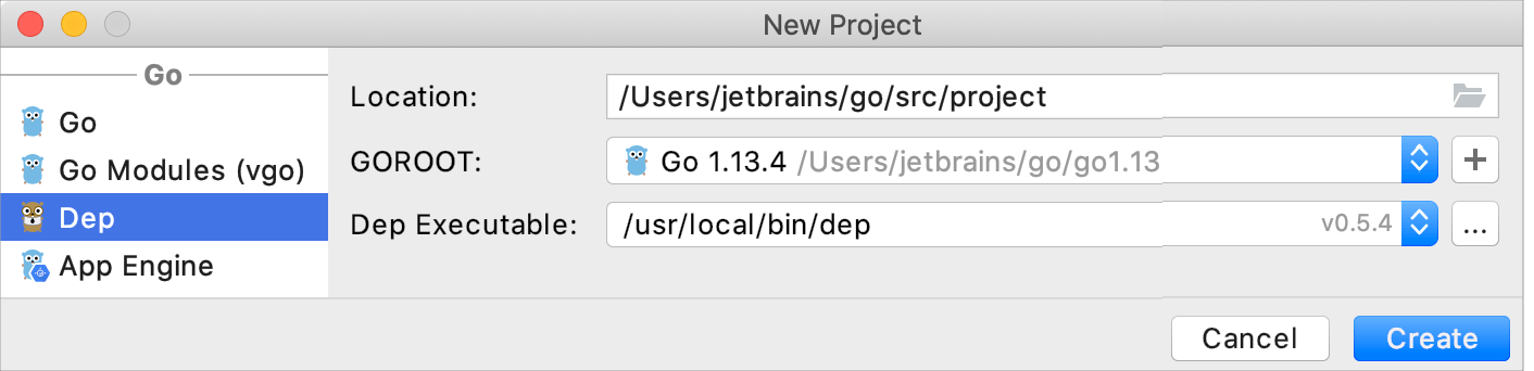 Create a project with Dep integration