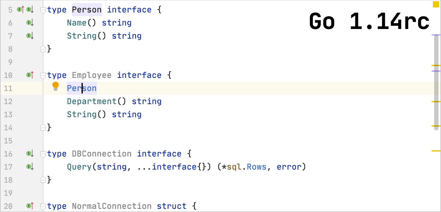 Go 1.14rc supports embedding overlapping interfaces