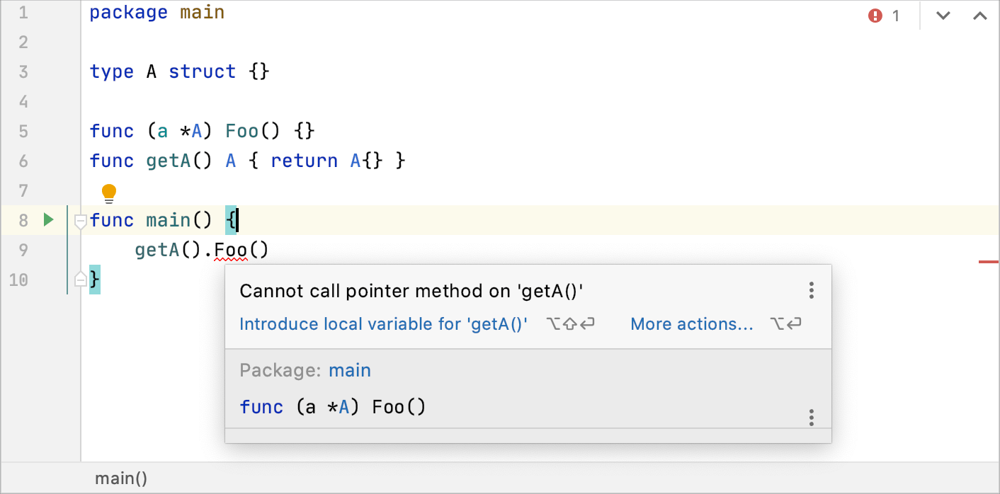 A warning that pointer method cannot be called