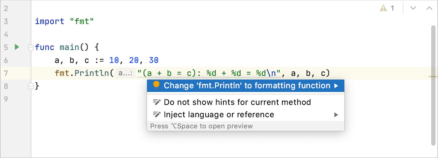 Change Println to Printf