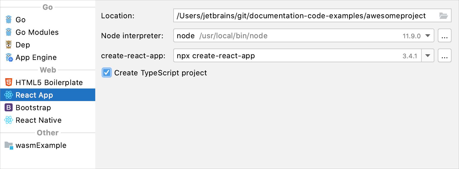 Create a React app project