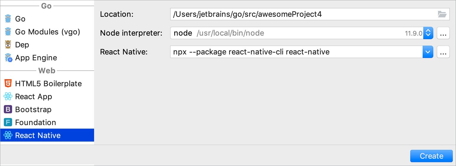 Create the React Native project