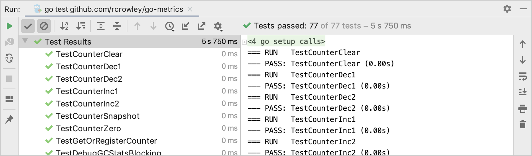 Test runner in the Run tool window