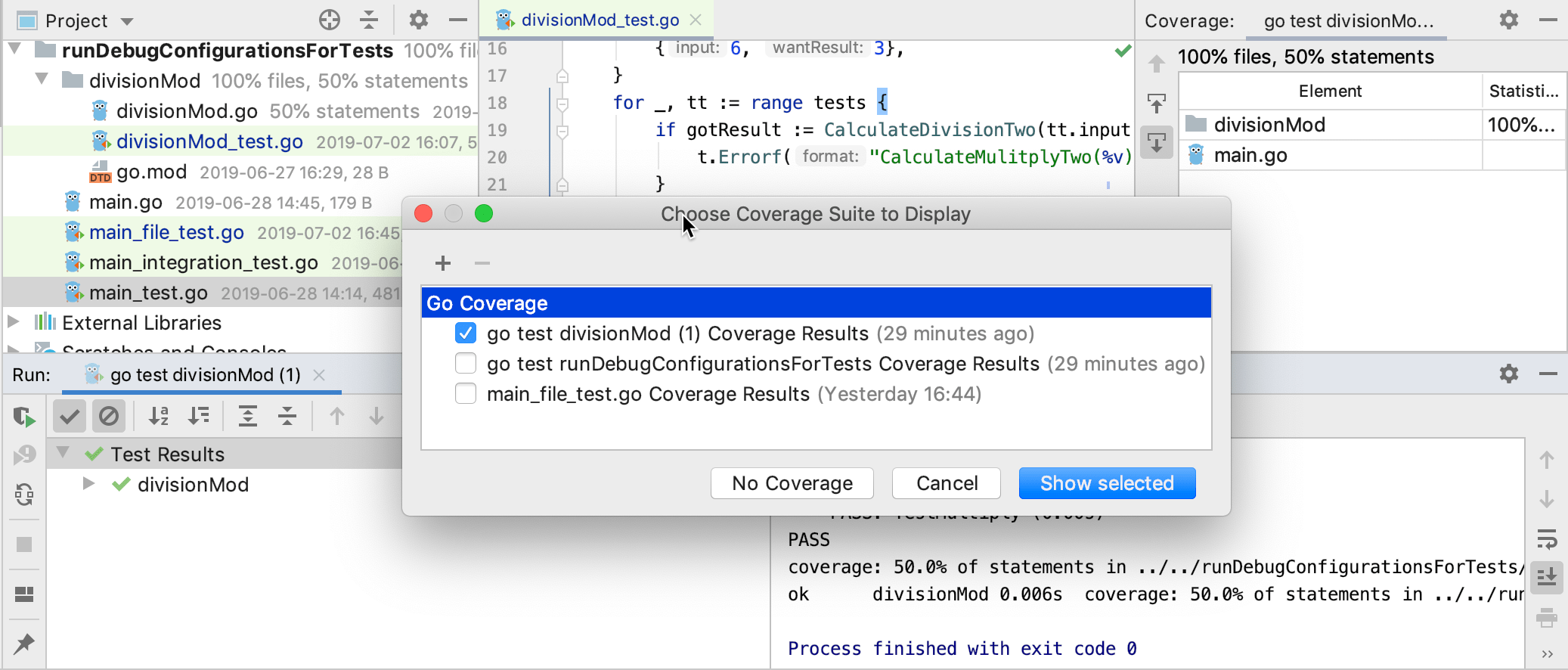 View code coverage results