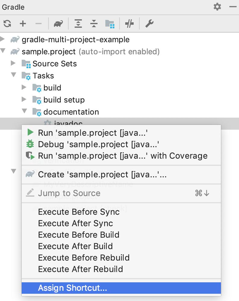 Gradle tool window: Assign Shortcut
