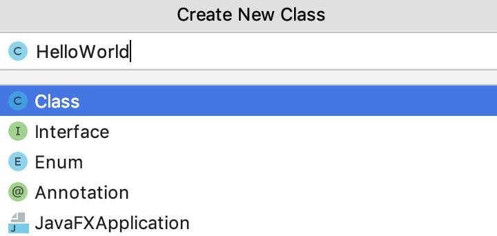 Create a new class dialog