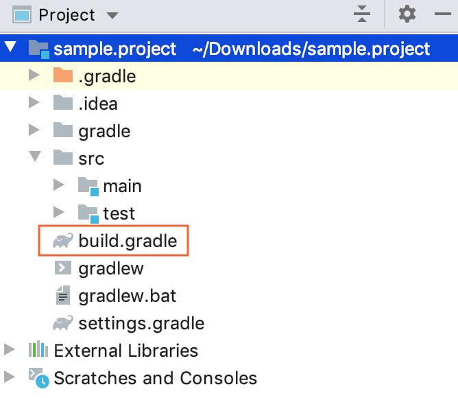 Gradle project view