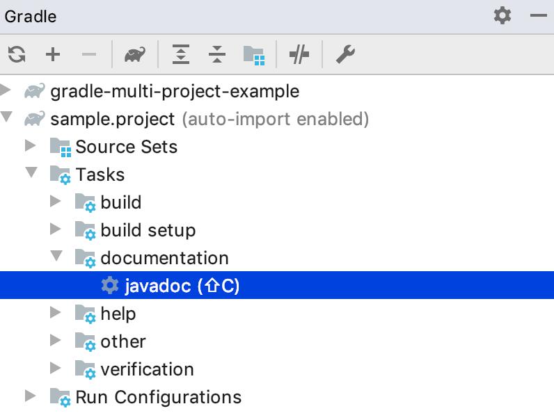 Gradle tool window: displayed shortcut
