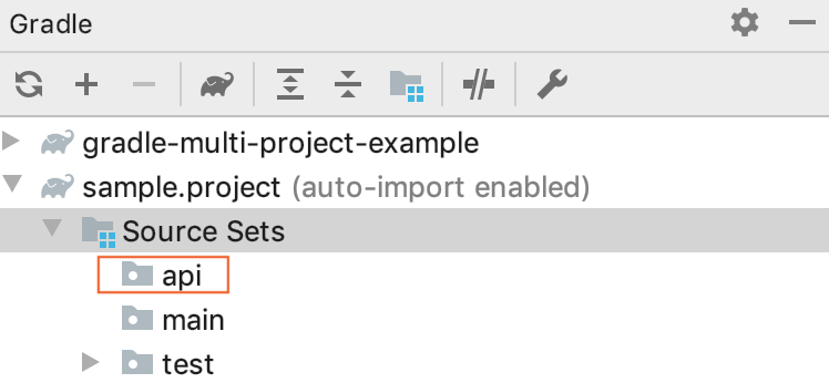 Gradle tool window: api Source Set