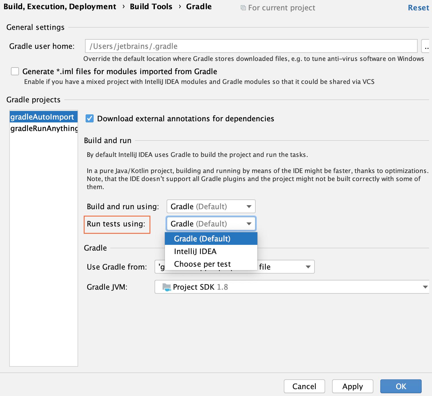 Gradle settings: the Run test using list
