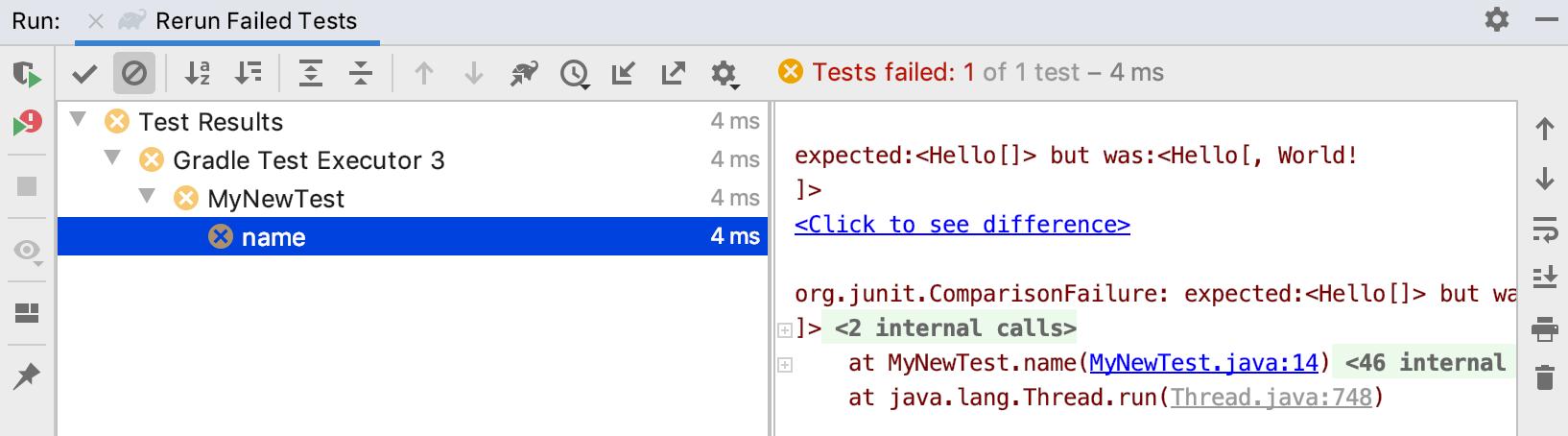 Run tool window / run test with Gradle