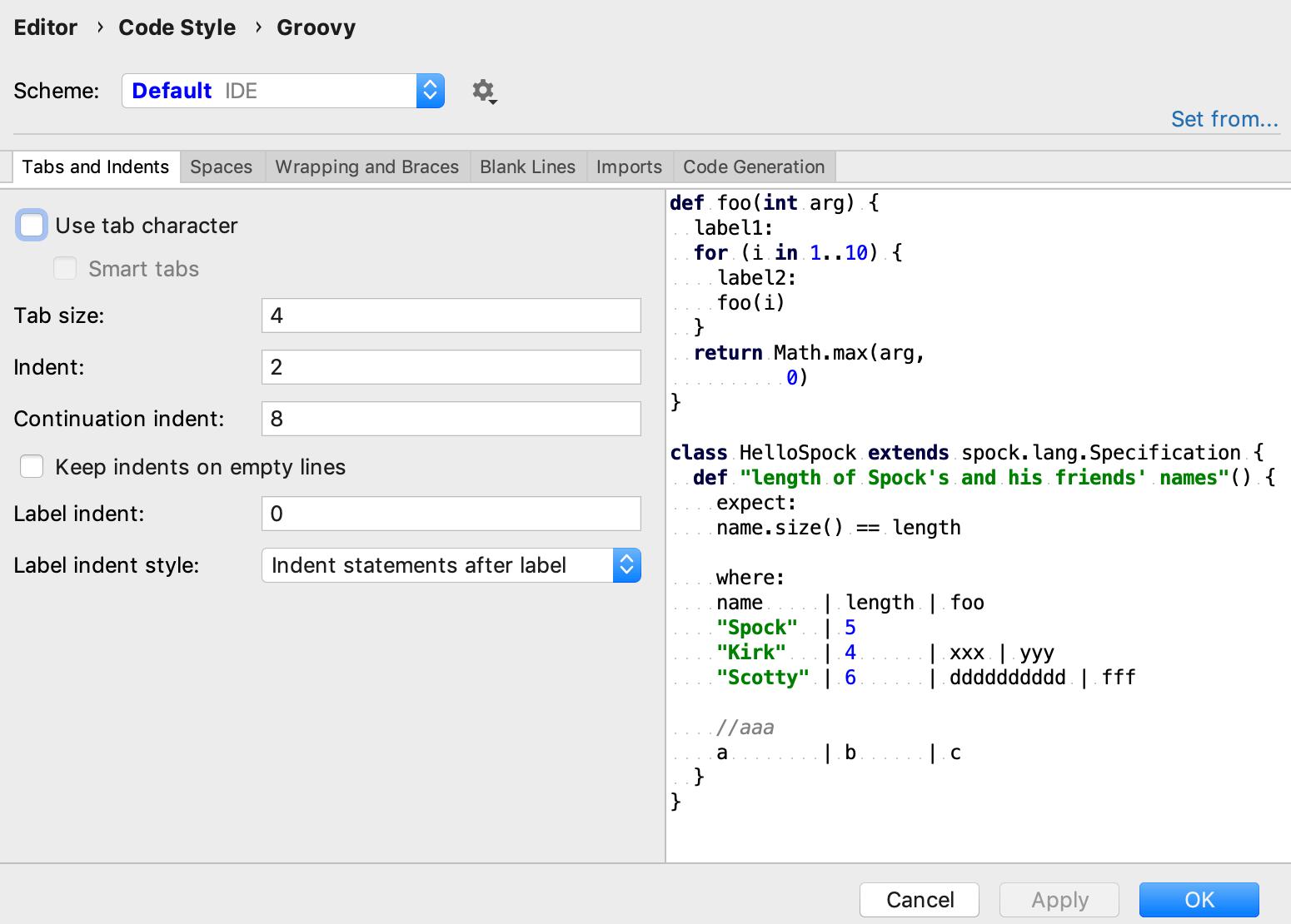 Groovy code style settings