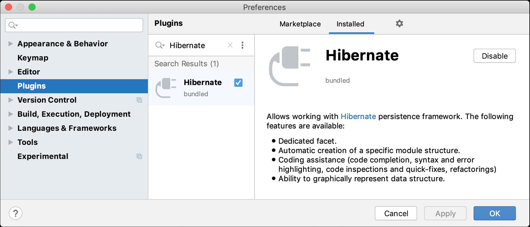Enabling the Hibernate plugin