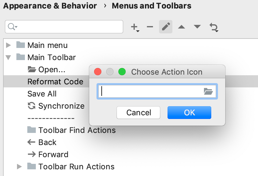 the Action icon dialog