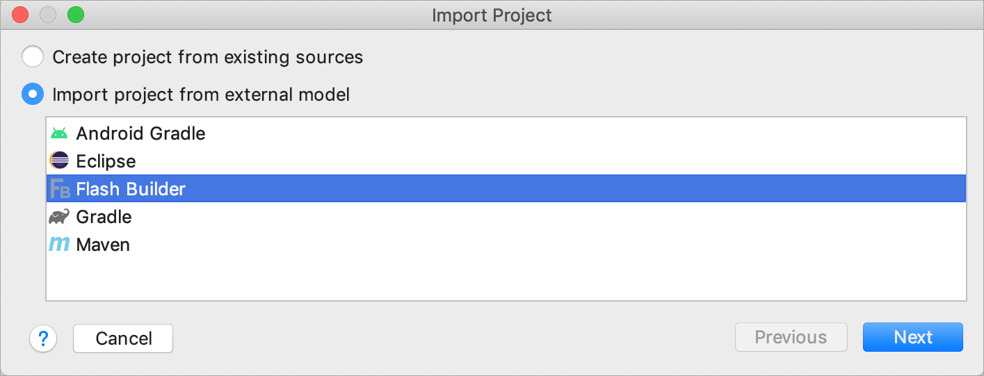 Importing a project from Flash Builder