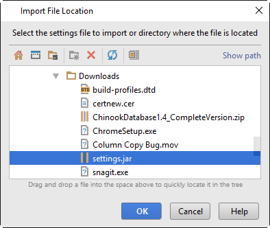 import settings location